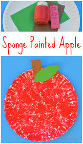 sponge painted apple craft for kids sponge painting johnny