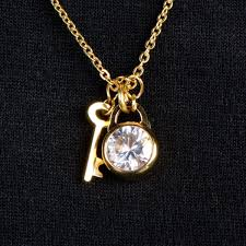 diamond charm necklace images Goldtone key and cubic zirconia charm necklace jpg