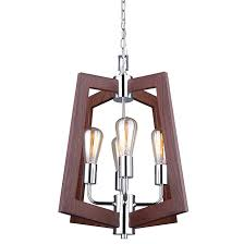 and wood chandelier 4 lights 5 chain chrome and wood rona