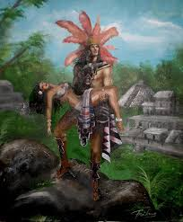 aztec sun god painting by freiberg