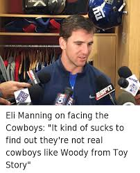 esrin eli manning on facing the cowboys it kind of sucks to find out
