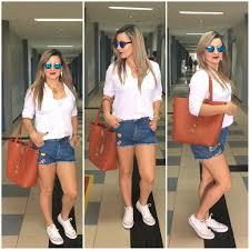 Popular Look de uma universitária: Blusa branca com short jeans - Taciana  #NK13