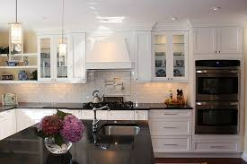 White Kitchens With Dark Floors by Stainless Steel Arc High Faucet Dark Wood Floors With White