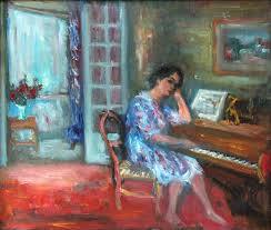 jacques zucker interior painting interior scene of woman playing the piano