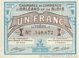 chambre du commerce blois 1 franc regionalism and miscellaneous orléans et blois 1920