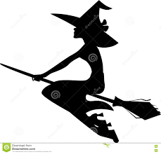Drawing Of Halloween Silhouette Witch On Broom Image Of Halloween Stock Vector Image