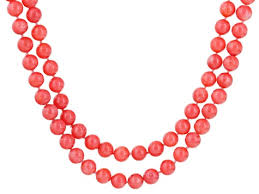 coral bead necklace images Pink salmon coral bead necklace cor099 jpg