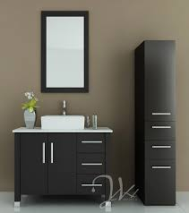 Free Standing Wooden Bathroom Furniture Bathroom Attractive Bathroom Decoration With Black Wood