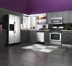 contemporary kitchen design with purple kitchen cabinets and gray