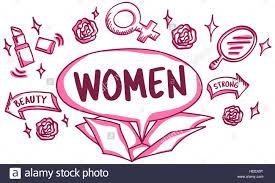 feminine icons symbols outside box sketch concept stock photo