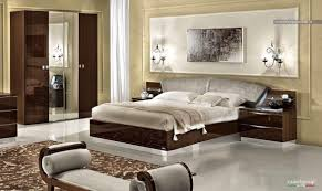 Italian Bedroom Sets Modern Walnut Italian Bedroom Set With Swarovski Headboard