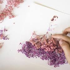 real petals drawings of wearing dresses made of real flower