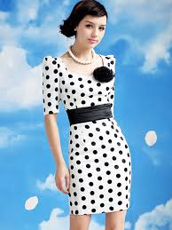 lady style elegant large polka dot embellished short sleeves dress