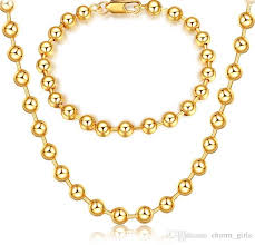 gold beaded necklace set images 2018 mark 18k gold platings circular bead necklace bracelet man jpg