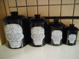 canisters kitchen decor sugar skulls sugar skull canister set by tongueincheeky on etsy