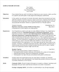 Resume Outline Sample by Sample Outline 15 Examples In Pdf Word Ppt