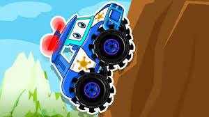 monster truck youtube videos for kids police car climbs the mountain monster trucks kids cartoon movies