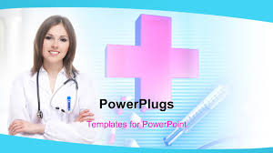 powerpoint template a pretty female nurse with a big red cross