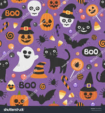 halloween background repeating vector cute seamless halloween pattern smiling stock vector