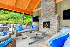 inviting interior of covered patio area in tacoma lawn tennis