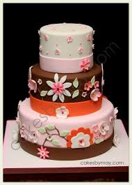 cakes by maylene brown pink and orange baby shower cake