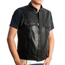 mens leather motorcycle vest buy leather motorcycle club vest sons of anarchy style size 42
