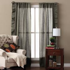 Brown Linen Curtains with Basillo Linen Curtains Steel Blue Pair