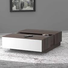 nexera allure coffee table with hidden storage white ebony with