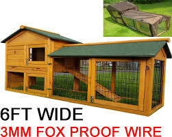 Rabbit Hutches And Runs Smokey Xl Fox Proof Large Rabbit Hutch 6tf Long With Rain Cover