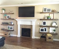 floating shelves next to fireplace ideas pertaining 7