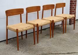 Danish Furniture Dining Room Set Of  Teak Danish Modern Slat Back - Scandinavian teak dining room furniture