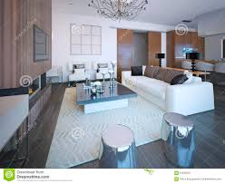 Neue Wohnzimmerm El Modische Möbel Im Großen Gemütlichen Wohnzimmer Stock Abbildung