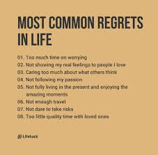 most common regrets in regrets and fear