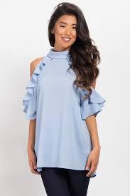 high neck ruffle blouse light blue high neck ruffle cold shoulder maternity top