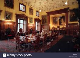 the dining room in glamis castle scotland where the queen mother