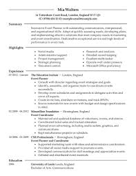 Sample Event Planner Resume Objective by Best Event Planner Resume Example Livecareer