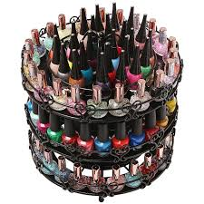 amazon com 3 tier black metal rotating large nail polish carousel