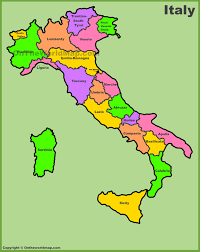 World Regions Map by Italy Regions Map