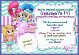 wrap party invitations print at home shimmer and shine birthday party invitations
