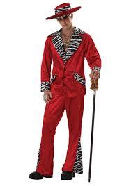 mens red pimp costume zebra trim pimp suit halloween costume ideas