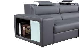Modern Grey Sectional Sofa Polaris Mini Contemporary Grey Bonded Leather Sectional Sofa