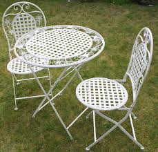 round table woodside rd white floral outdoor folding metal round table and chairs garden