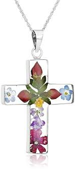 colored cross necklace images Sterling silver pressed flower multi colored cross jpg