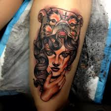 neo traditional bear cowl tattoo by dagger u0026 lark tattoo