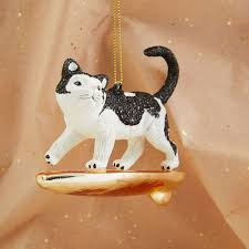 glass surfing cat ornament west elm