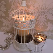 Shabby Chic Candle Sconces Shabby Chic Antique Cream Metal Bird Cage Candle Holder