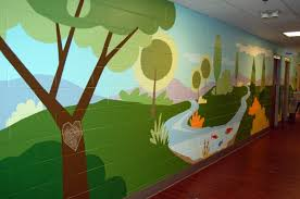 contemporary kids playroom with city park wall murals kids room