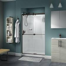 Shower Door Magnetic Strips by Delta 48 In X 72 In Semi Framed Sliding Shower Door In Stainless