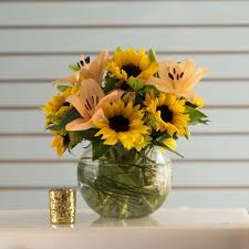 Vase Of Sunflowers Sunflowers With Lilies In Sunnyvale Ca El Patito Florist