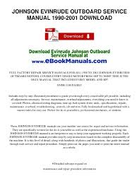johnson evinrude outboard service manual 1990 2001 download